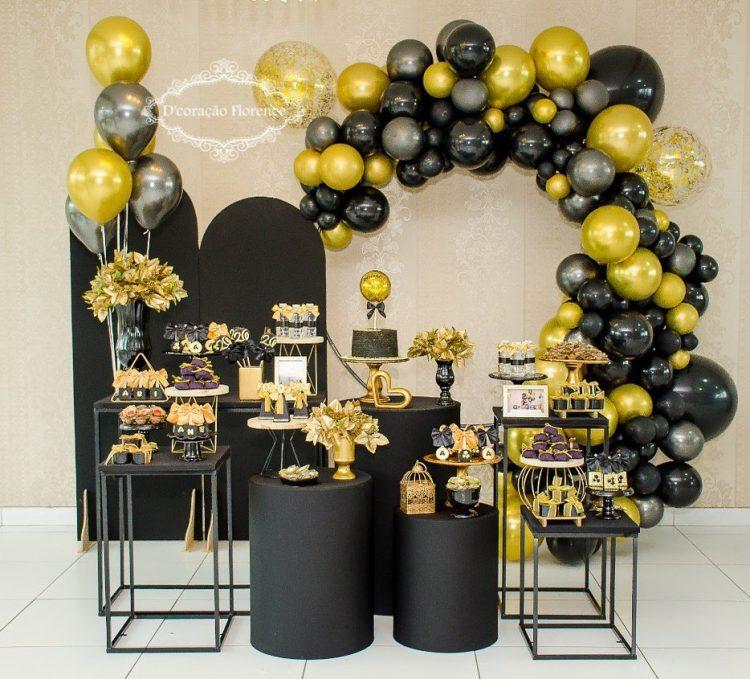 decoração de festa para adulto com paleta preta com dourado