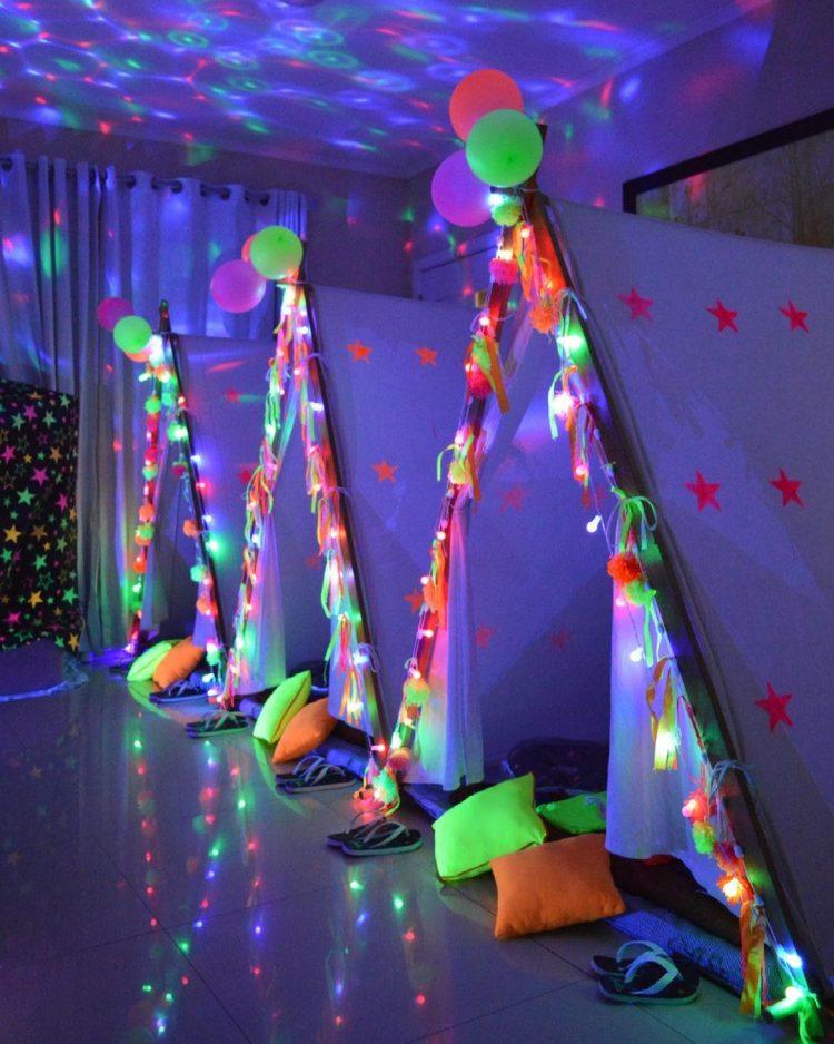 Decoração festa do pijama neon