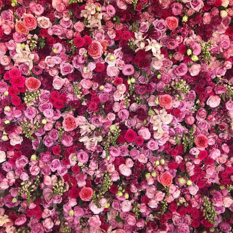 Parede de flores para festa