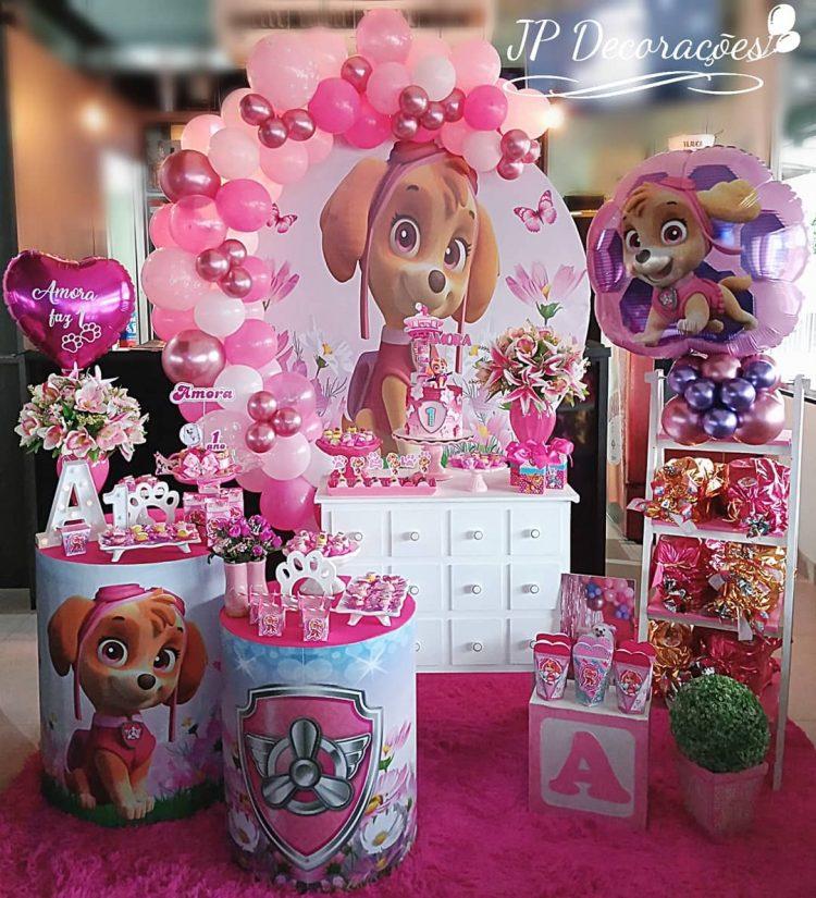 decoracao rosa para menina no tema patrulha canina